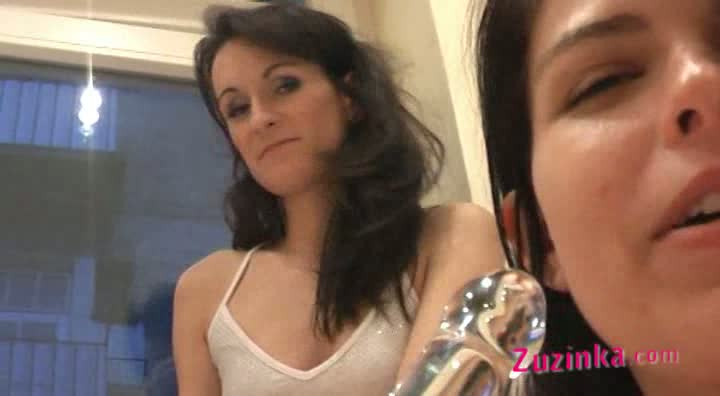 Zuzinka invite her friend for a bottle of wine And with the wine comes taste for something little more nasty